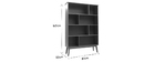 INGRID 8-compartment vintage walnut bookcase