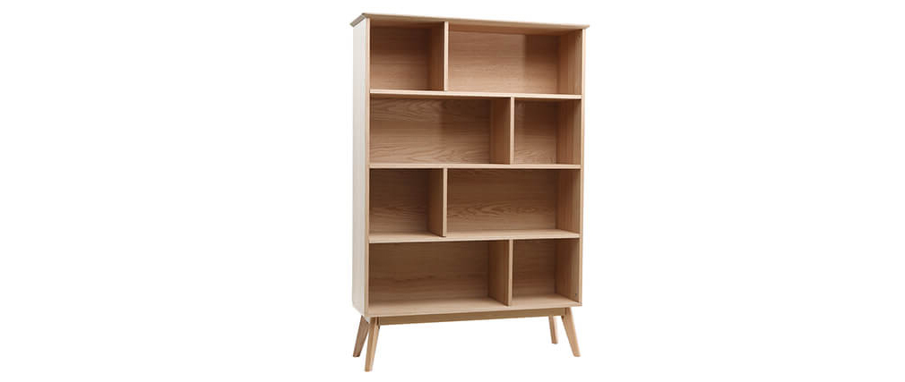 INGRID Scandinavian oak bookshelves 165cm