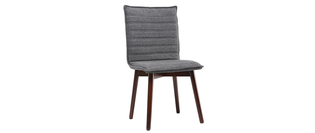 IZAL set of 2 designer chairs anthracite grey fabric dark wooden legs