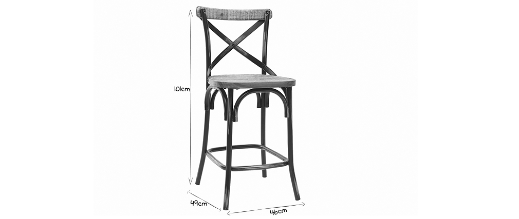 JAKE industrial bar stool in antique black metal and wood 65 cm