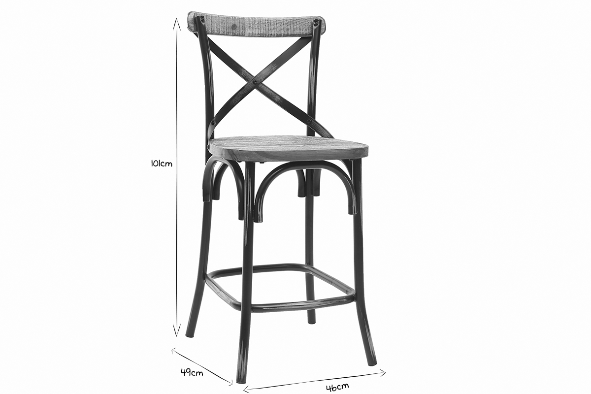 Remarkable Jake Industrial Bar Stool In Antique Black Metal And Wood 65 Machost Co Dining Chair Design Ideas Machostcouk