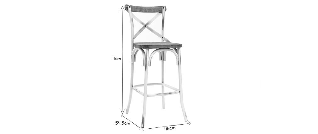 JAKE industrial bar stool in antique white metal and wood 75 cm