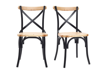 Miraculous Jake Industrial Black Metal And Wooden Chairs Set Of 2 Download Free Architecture Designs Scobabritishbridgeorg