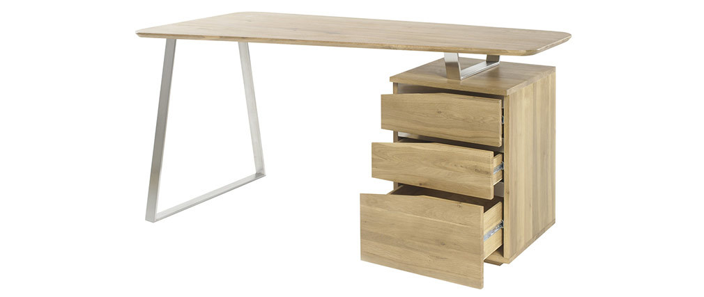 JANIS designer metal and wooden desk with storage L150