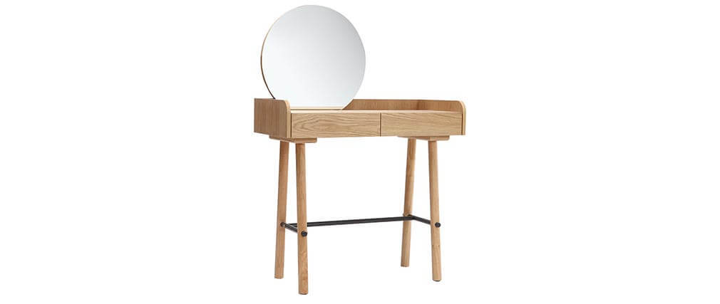 JAPANSK Scandinavian light oak console table with mirror