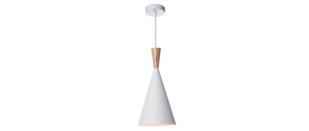 JAVA white metal and wood pendant lamp 19cm