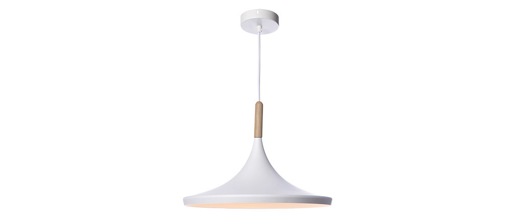JAVA white metal and wood pendant lamp 36cm