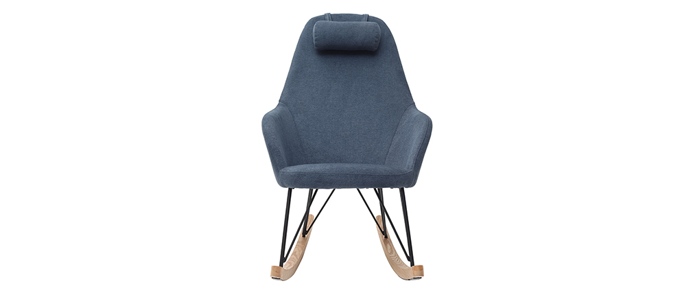 JHENE blue velvet fabric rocking chair with metal and wooden base