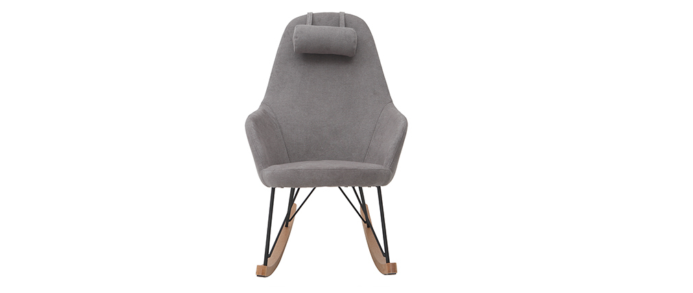 JHENE grey velvet fabric rocking chair with metal and wooden base