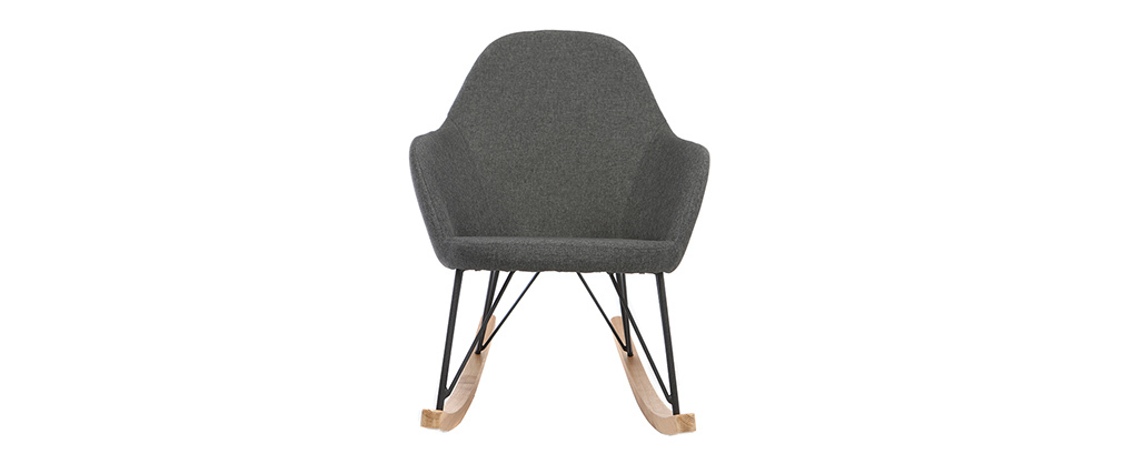 JHENE relaxing armchair - Rocking chair in anthracite grey fabric with metal and ash legs