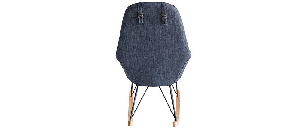 JHENE relaxing armchair - Rocking chair in bluish grey fabric with metal and ash legs