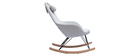 JHENE relaxing armchair - Rocking chair in grey fabric with metal and ash legs