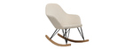 JHENE relaxing armchair - Rocking chair in natural fabric with metal and ash legs