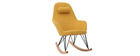 JHENE yellow velvet fabric rocking chair with metal and wooden base