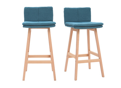 Fantastic Joan Set Of 2 65Cm Wooden And Teal Bar Stools Machost Co Dining Chair Design Ideas Machostcouk
