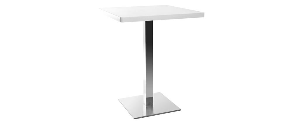 JORY White Square Modern Central Leg Dining Table L60