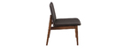 JUKE designer vintage armchair with walnut legs and anthracite grey fabric