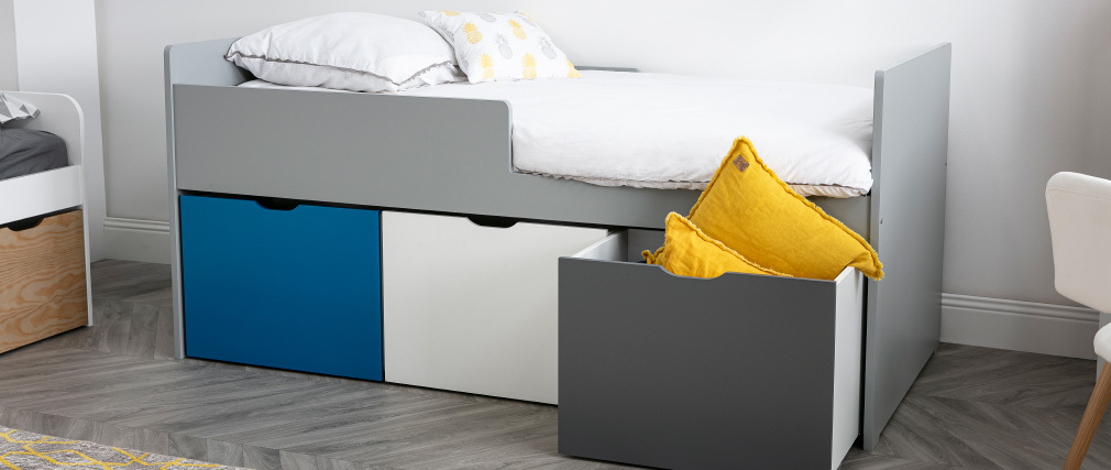 JULES children?s bed with drawers, white, grey and blue 90 x 190cm