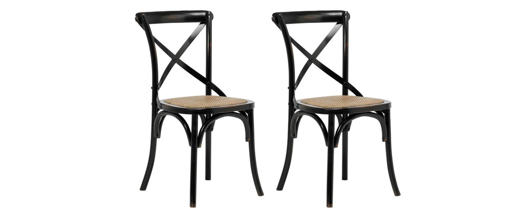 KAFFE set of 2 black wood and rattan bistro chairs