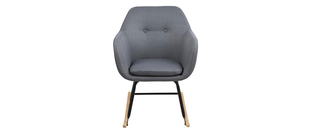 KENDALL designer dark grey fabric rocking chair