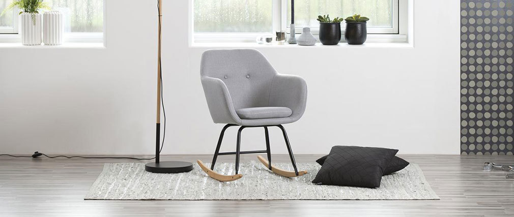 KENDALL designer light grey fabric rocking chair