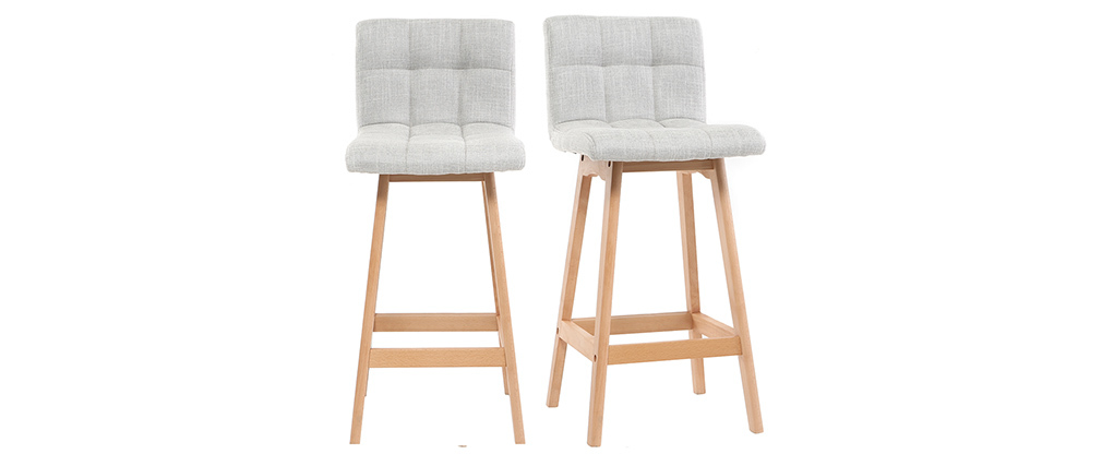 Klaris Set Of 2 65cm Wooden And Pearl Grey Designer Bar Stools Miliboo