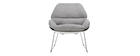 KOKON designer white shell chair with grey fabric seat