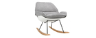 KOKON designer white shell rocking chair with grey fabric seat