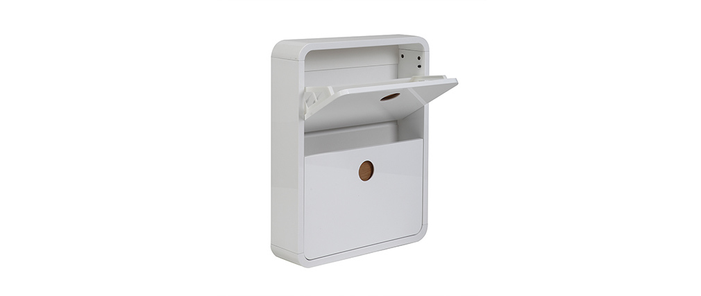 KOPEN Glossy White and Ash Shoe Cabinet with 2 Flaps
