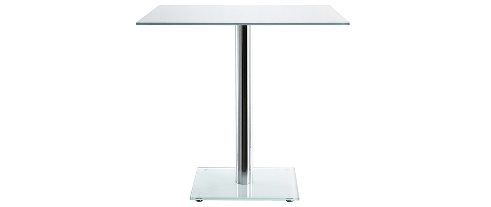 KROM square white glass dining table with chrome leg 80cm