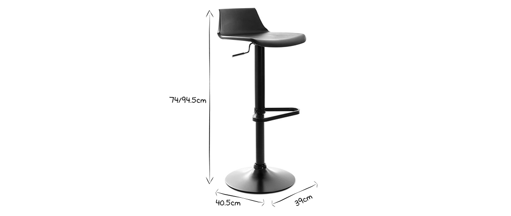 KRONOS Black Modern Bar Stool (set of 2)