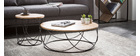 LACE round coffee table in wood and black metal 80cm