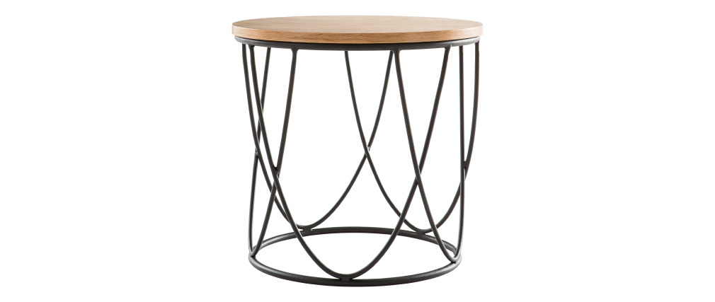 LACE side table in wood and metal 42cm