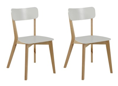 LAENA Glossy White Modern Wood Chairs (set of 2)