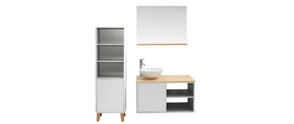 LAÏTA bathroom unit with storage tower, basin and mirror in white and wood