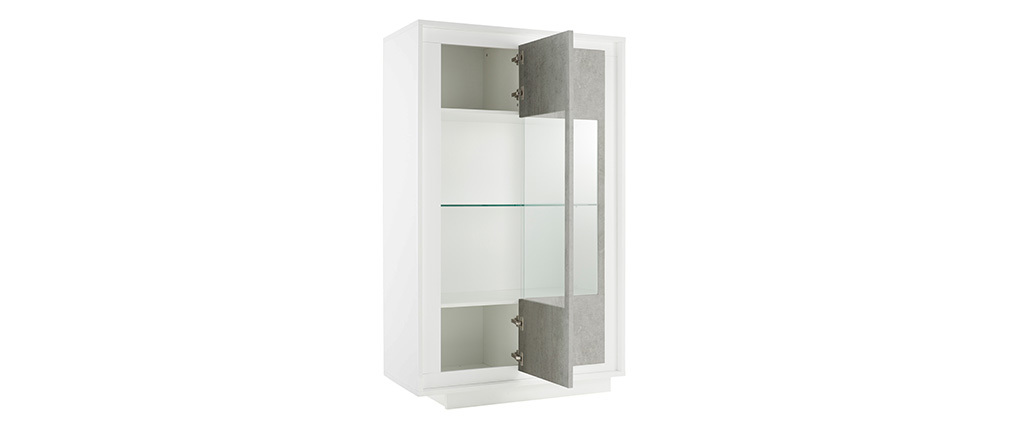 LAND designer glass-front white and concrete sideboard