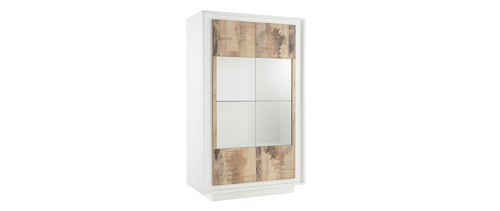 LAND designer glass-front white and light wooden sideboard