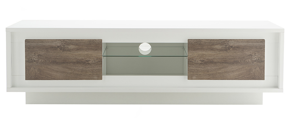LAND designer white TV stand with dark wooden storage 156cm