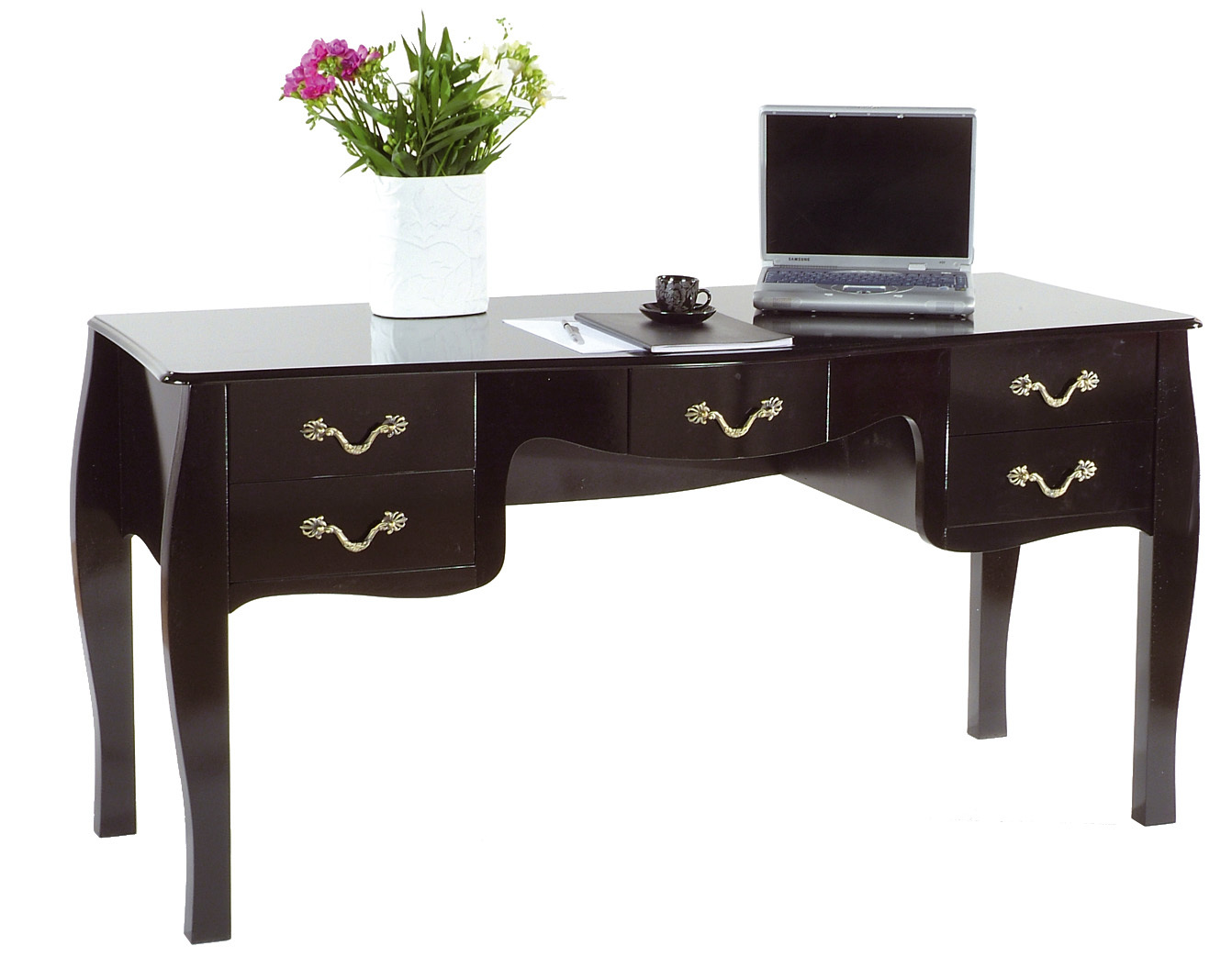 Large desk with 5 drawers LOUISA - colour black