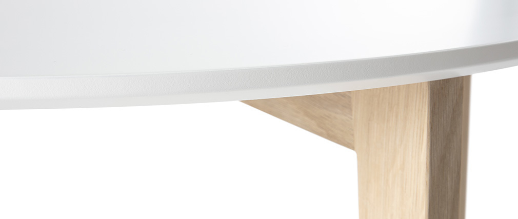 LARGO Glossy White and Natural Wood Modern Coffee Table