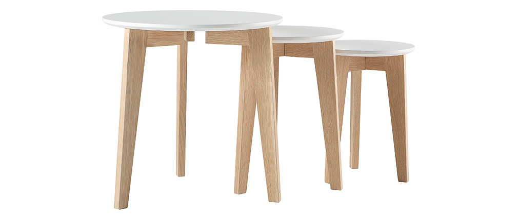 LARGO Glossy White and Natural Wood Modern Nesting Tables (set of 3)