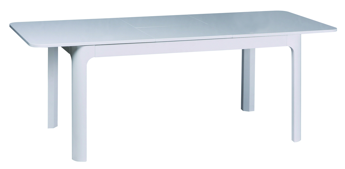 Rectangular White Dining Table Curving Base And Unique White Dining