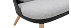 LEAF black chair with fabric cushions and light wooden legs