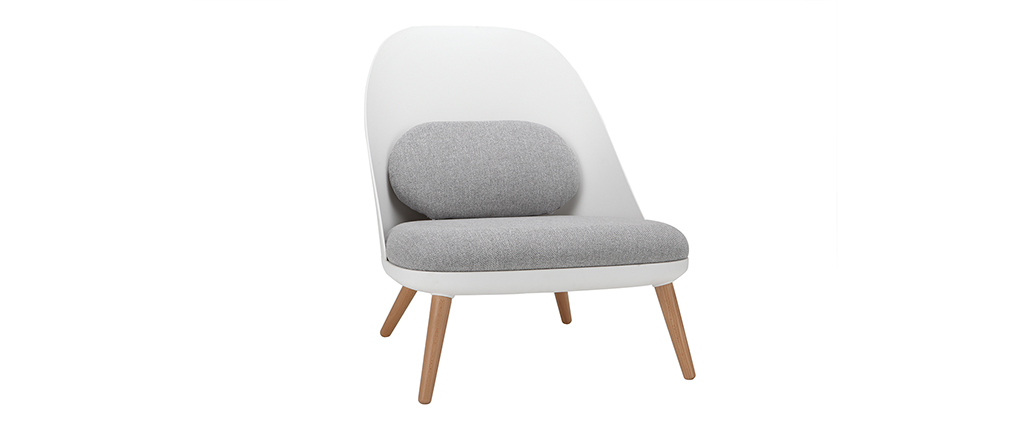 LEAF white chair with fabric cushions and light wooden legs