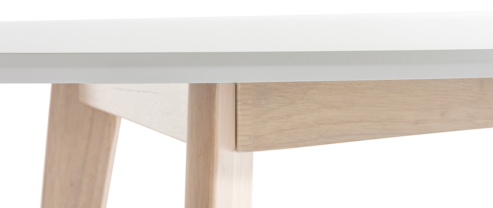 LEENA 150cm white and light wood oval table