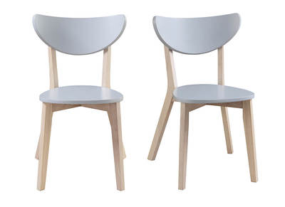 LEENA designer grey chairs with wooden legs (set of 2)