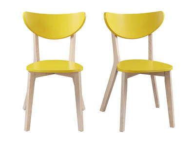 LEENA designer yellow chairs with wooden legs (set of 2)