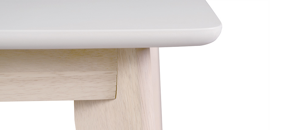 LEENA Modern White and Light Wood Extending Dining Table L150-200