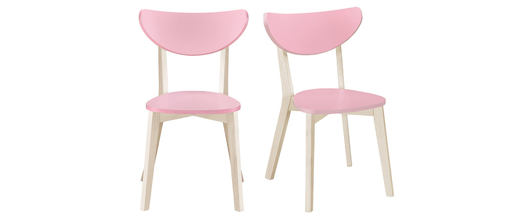 LEENA Scandinavian chairs in pink and light wood (set of 2)