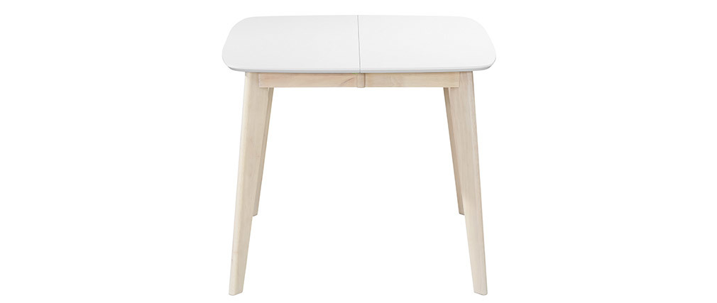 LEENA Scandinavian extendable square dining table in white and wood 90-130cm